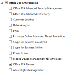 Disable a single Office 365 license option for all users